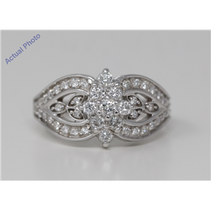 18k White Gold Round Fancy Victorian diamond rococo style dress engagement ring (0.87 Ct, H , SI )
