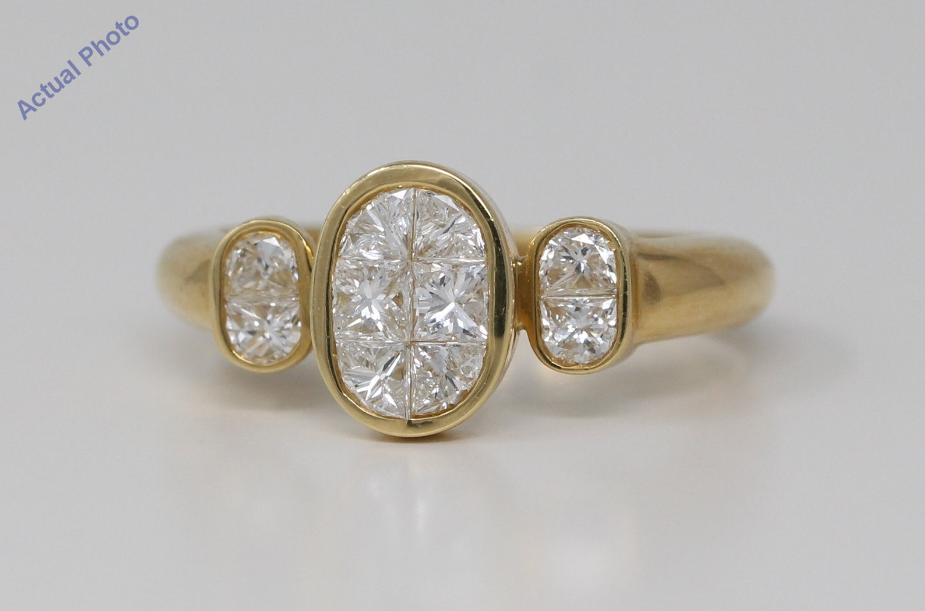 ce6843bf371a1 18k Yellow Gold Round Diamond Invisible Setting Oval modern set trilogy  engagement ring (1.08 Ct, H , VS )