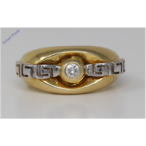 18k Two Tone Gold Round Bezel Setting Modern classic fashion motif diamond engagement ring (0.11 Ct, H, SI )