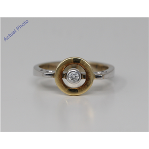 18k Two Tone Gold Round Bezel Setting Modern stylish two tone encircled diamond ring(0.08 ct, H, VS)