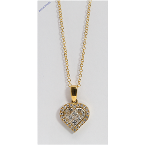 18k Yellow Gold Princess & Round heart elegant modern classic diamond pendant with set bezel(1.02 ct, H, SI)