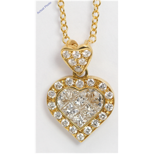 18k Yellow Gold Princess & Round heart elegant modern classic diamond pendant with set bezel(1 ct, H, SI)