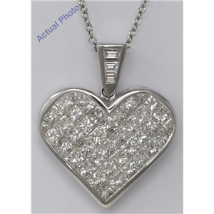 18k White Gold Princess & Baguette Invisibly Set heart elegant modern classic diamond pendant(5.4 ct, H, VS)