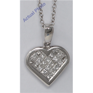 18k White Gold Princess Invisible Setting heart elegant motif modern classic diamond pendant (0.95 Ct, H, VS)
