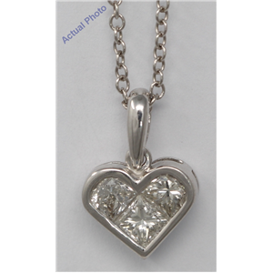 18k White Three Stone Princess Invisible heart elegant motif modern classic diamond pendant(0.82 ct, H, SI)