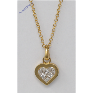 18k Yellow Gold Princess Invisible Setting heart elegant motif modern classic diamond pendant (0.5 Ct, H, VS)