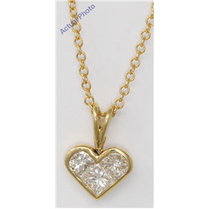 18k Yellow Gold Three Stone Princess Invisible heart dainty elegant motif diamond pendant(0.8 ct, H, VS)