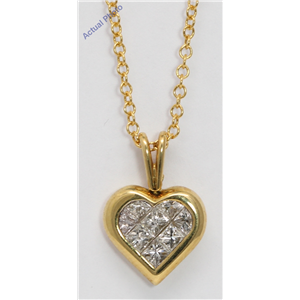 18k Yellow Gold Princess Invisible Setting heart elegant motif modern classic diamond pendant(0.57 Ct, H, VS)