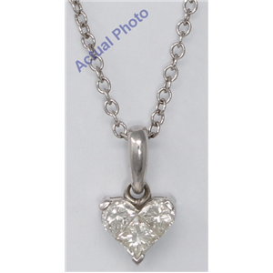 18k White Three Stone Princess Invisible heart dainty elegant motif classic diamond pendant(0.53 ct, H, VS)