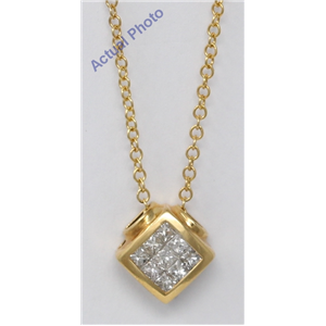 18k Yellow Gold Princess Invisible Setting diagonal square contemporary diamond pendant (0.47 Ct, H , VS )