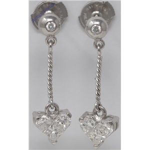 18k White Gold Princess & Round Heart Shape rope style dangle set diamond earrings(0.74 ct, H, I1)