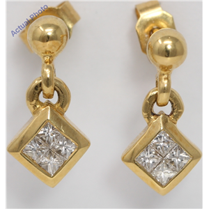 18k Yellow Gold Princess Invisible Setting set diagonal square contemporary diamond earrings (0.32 Ct, H, VS)