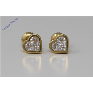 18k Yellow Gold Princess Diamond Invisible Setting Petite heart shaped contemporary Studs(0.73 ct, H, VS)