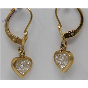 18k Yellow Gold Princess Diamond Petite heart Shape contemporary dangle earrings(0.66 ct, H, VS)