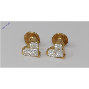 18k Yellow Gold Princess & Heart heart dainty elegant motif classic diamond earrings(1.53 ct, H, SI)