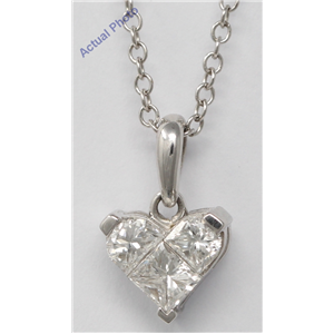 18k White Three Stone Princess Invisible heart dainty elegant motif classic diamond pendant(0.78 ct, H, VS)