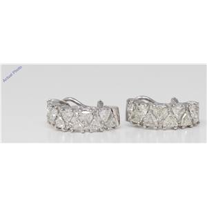18k White Gold Triangle Diamond Half-hoop dress earrings set with triangular (3.6 Ct, L Color, SI2 Clarity)