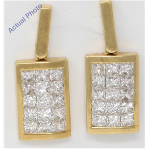 18k Yellow Gold Princess Invisible Setting diamond rectangular classic stylish dress earrings(2.12 Ct, H, VS)