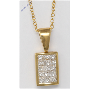 18k Yellow Gold Princess Invisible Setting diamond rectangular classic stylish dress pendant (1.05 Ct, H, VS)
