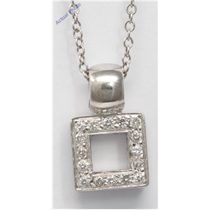18k White Gold Round Cut Open square modern chunky classic diamond pendant (0.28 Ct, H Color, SI Clarity)