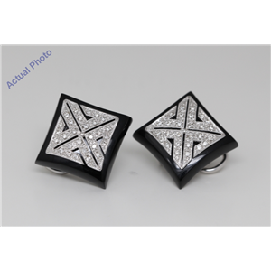 18k White Gold Princess Art Decor style square black enamel diamond set earrings (0.6 Ct, H , SI )