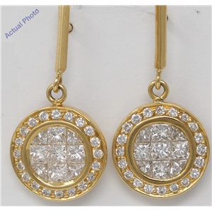 18k Yellow Gold Princess & Round Invisible Setting set diamond earrings with set bezel (1.56 Ct, H , VS )
