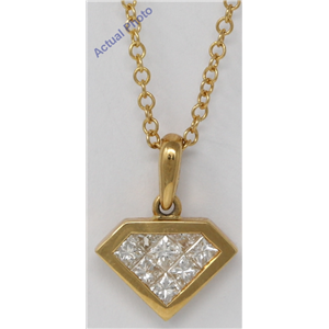 18k Yellow Gold Princess Invisibly Set Diamond shape classic pendant set with & kite shape (0.79 ct, H, VS)