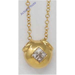 18k Yellow Gold Princess Diamond Invisible Setting Modern ball shaped pendant set with (0.3 Ct, H , VS )
