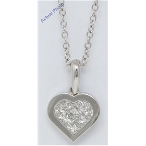 18k White Gold Princess Invisible Setting Modern petite classic heart set diamond pendant (0.51 Ct, H , SI )