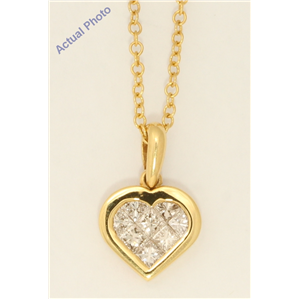 18k Yellow Gold Princess Invisible Setting Modern petite classic heart set diamond pendant (0.51 Ct, H , SI )