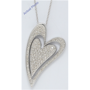 14k White Gold Round Dynamic double heart funky pavee set diamond pendant with filigree back (1.73 Ct, H, VS)