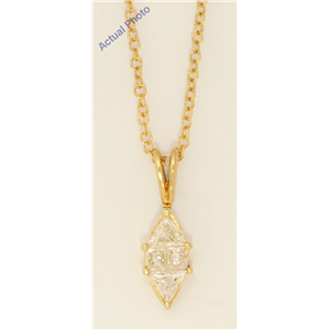 18k Yellow Gold Princess Marquise shape classic modern & triangle diamond pendant (0.55 Ct, J , VS )