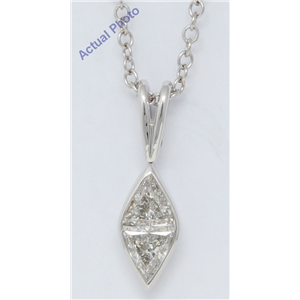 18k White Gold Triangle Marquise shape classic modern two stone princess & diamond pendant(0.59 ct, H, VS)