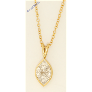 18k Yellow Gold Princess Marquise shape classic modern & triangle diamond pendant(1.1 ct, H, VS)