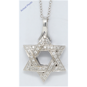 18k White Gold Round Cut Six pointed Star of David shield diamond pendant (0.55 Ct, H Color, SI Clarity)