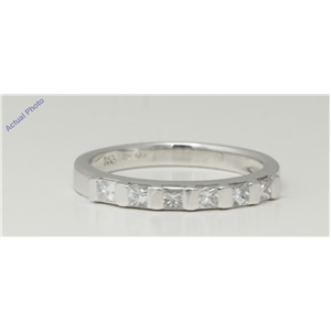 18k White Gold Princess Modern contemporary seven stone eternity diamond wedding band (0.51 Ct, H , VS )