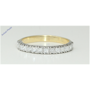 18k Two Tone Gold Princess Modern contemporary fourteen stone eternity diamond wedding band (0.72 Ct, H, VS )