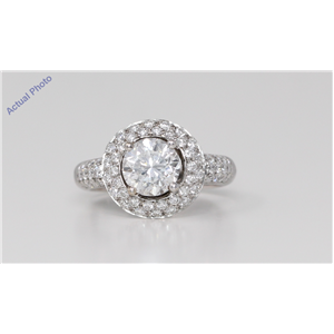 18k White Gold Round Cut Classic engagement dress cocktail diamond ring (2.64 Ct, H Color, SI Clarity)