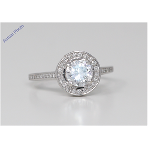 18k White Gold Round Classic stylish engagement solitaire brilliant two tier diamond ring (1.35 Ct, H , I1 )