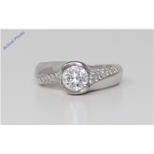 14k White Gold Round Bezel Setting Modern twist solitaire engagement dress diamond ring (1.29 Ct, H , I1 )