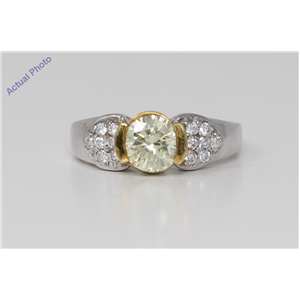 18k White Gold Round Bezel Classic dress pavee set shoulders yellow Ring(1.44 ct, Natral Light Yellow, SI)