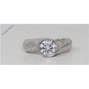 18k White Gold Round Bezel Setting Modern twist solitaire engagement dress diamond ring (1.27 Ct, F-g , SI2 )