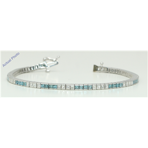 18k White Princess Contemporary chic dress classic diamond tennis bracelet(3.5 ct, Blue(Irradiated), Si1)