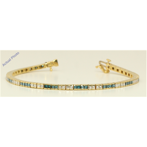 18k Yellow Gold Princess Channel Setting dress diamond tennis bracelet(3.2 ct Blue(Irradiated) & White,)