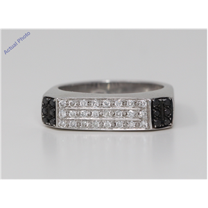 18k White Round Modern classic square three row diamond wedding eternity ring(0.53 ct, Black(Irradiated), Si)