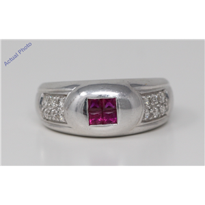 18k White Gold Princess Classic contemporary double row diamond signet ring (0.55 Ct, Pink(Irradiated) , Vs )