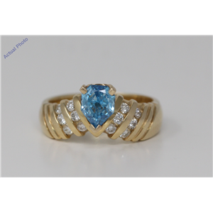 18k Yellow Gold Pear & Round diamond shape engaagement ring with set shoulders(0.75 ct, Blue(Treated), I1)