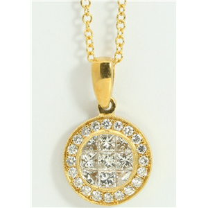 18k Yellow Gold Princess & Round elegant circular modern diamond pendant with set bezel(1.07 ct, H, VS)