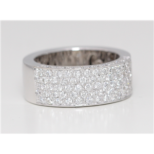18k White Gold Round Diamond Setting Multi-Row Multi-Stone Pave Half-Eternity Wedding Band (1.45 Ct, G, VS1 )