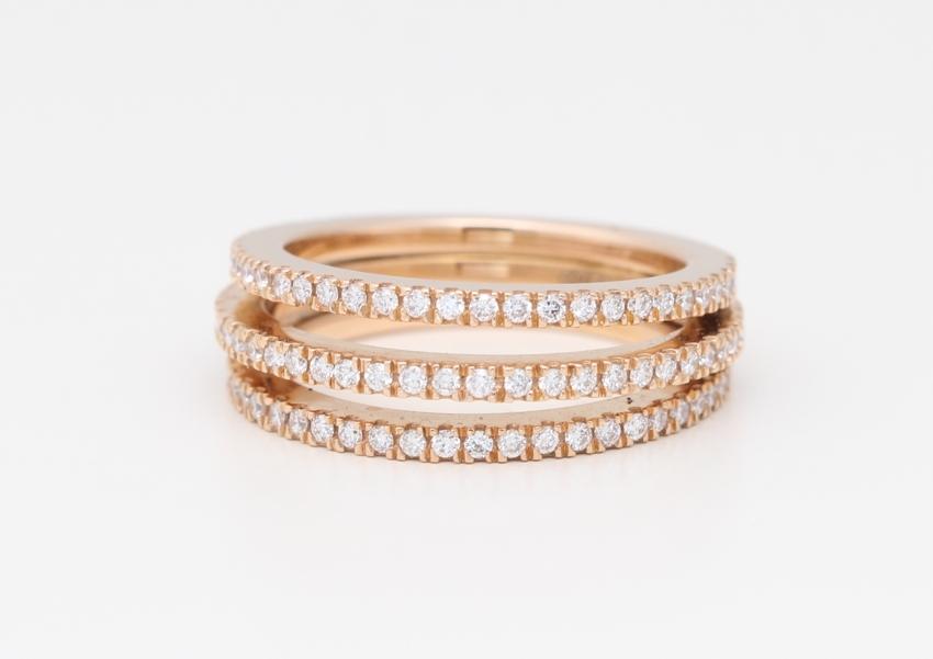 5ed73d3f396 18k Rose Gold Round Diamond 3 Ring Rount Half-Attached Prong Set  Half-Eternity Wedding Band(0.75 ct ...